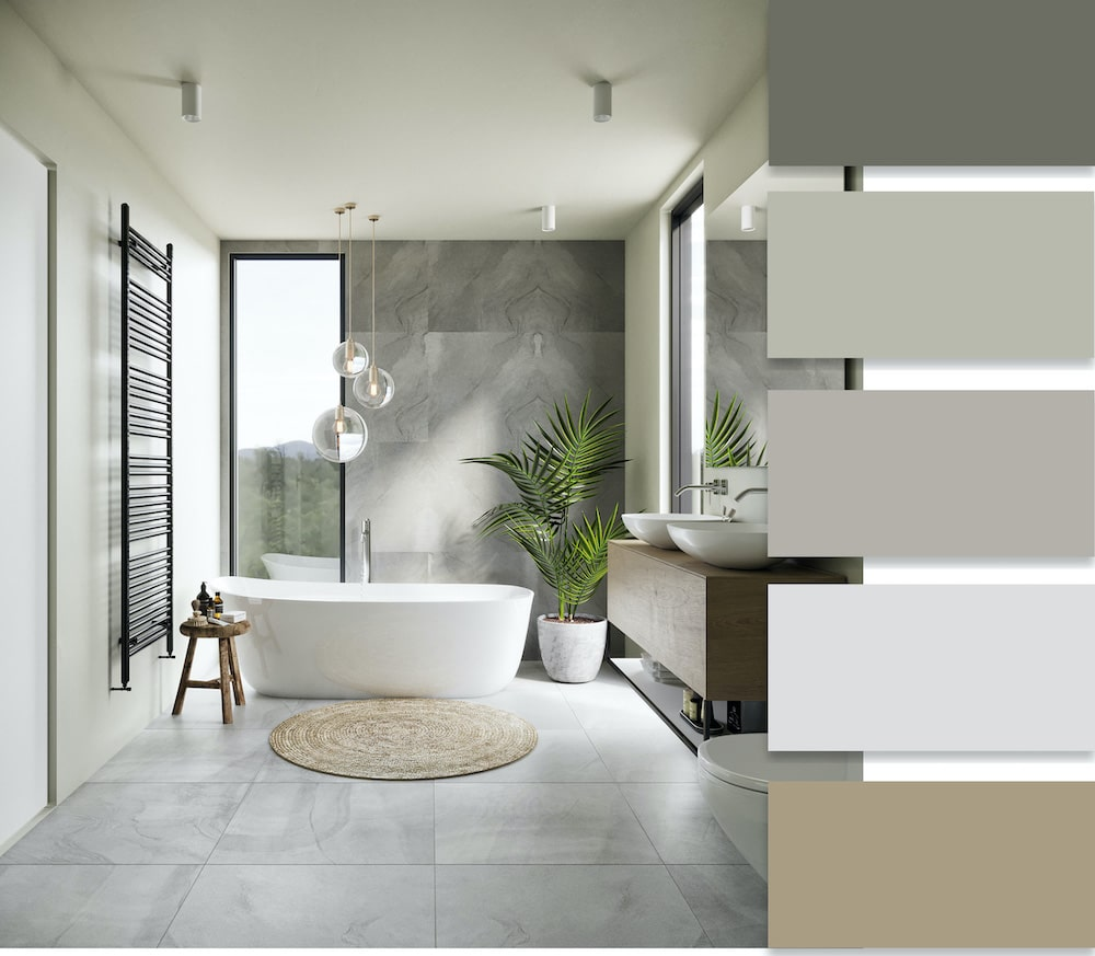 Успокаивающий и умиротворенный интерьер ванной в стиле эко