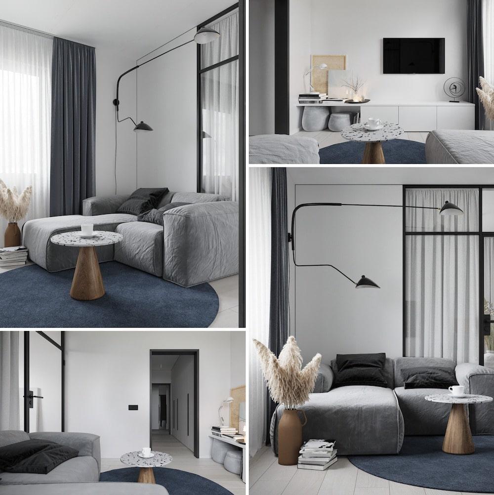 Дизайн интерьера квартиры в сером цвете