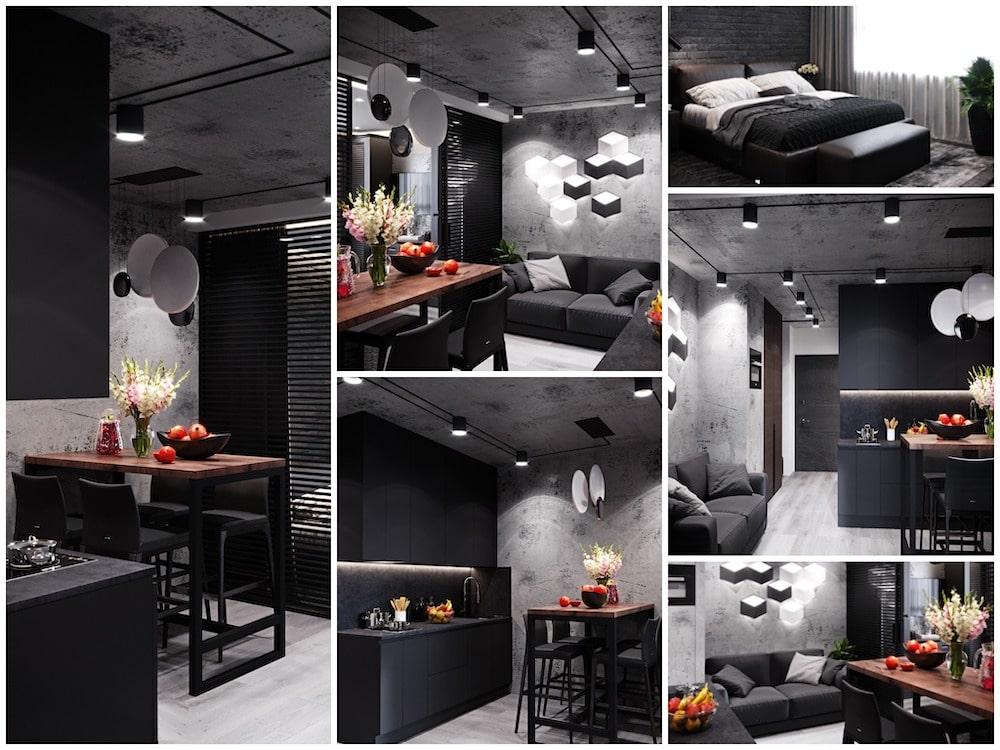 Удачное сочетание черного и серого цвета в отделке квартиры