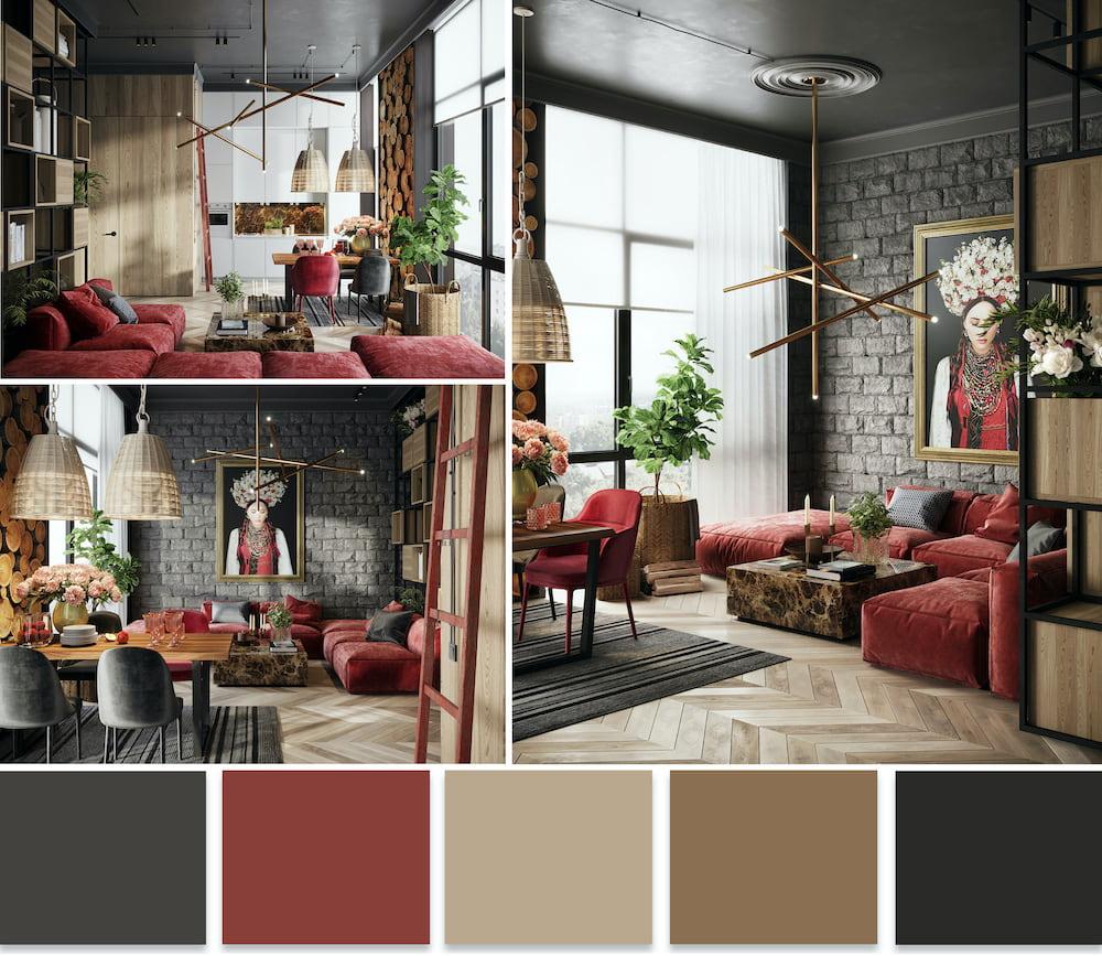 Какой бы цвет не был выбран для оформление интерьера в качестве основного, главное чтобы он хорошо сочетался с остальными цветами
