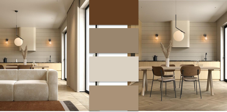 Бежевый хорошо сочетается с коричневым и белым цветом, особенно прекрасно выглядит такой тандем при оформлении гостиной и спальной комнаты
