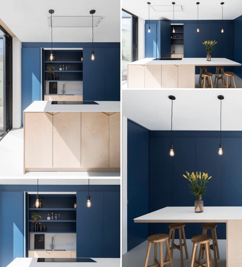 Кухня в бело-синем цвете