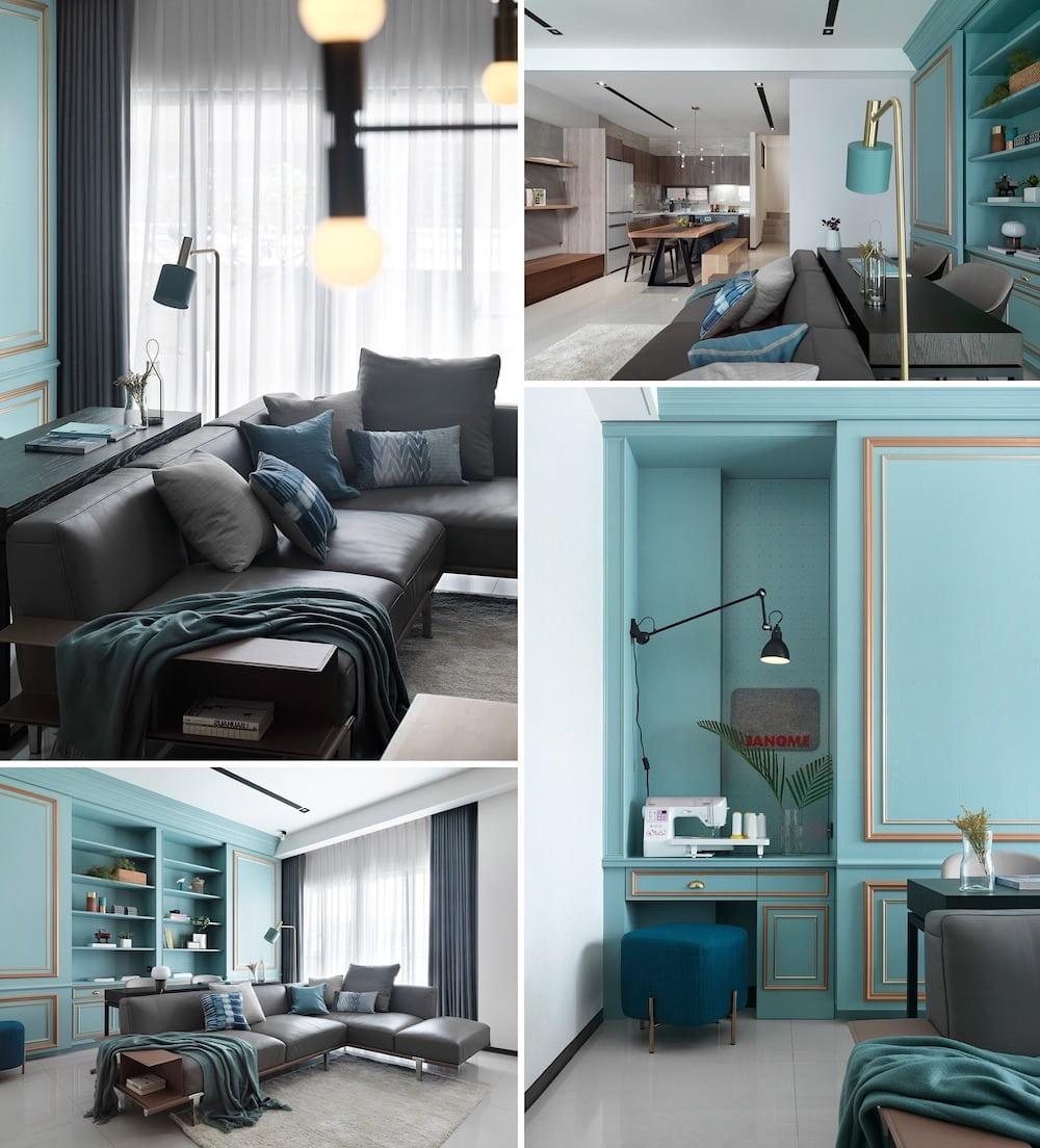 Необычный вариант цветового оформления комнаты в цвете морской волны