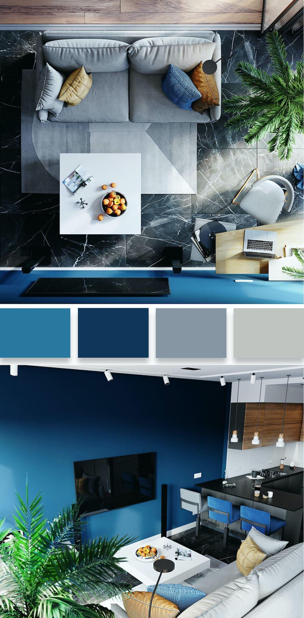 Синий цвет способен зрительно оживить любой интерьер, даже самый скучный и незаурядный
