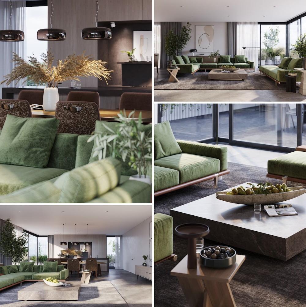 Большой зеленый диван стал главным акцентом в изящном интерьере просторной гостиной