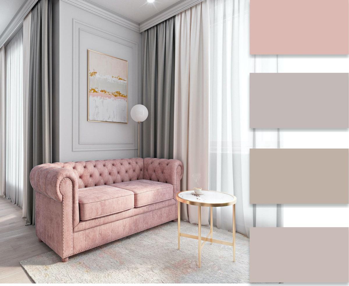 Продуманный до мелочей дизайн интерьера комнаты в стиле минимализм, неотъемлемой составляющей которого стал розовый цвет