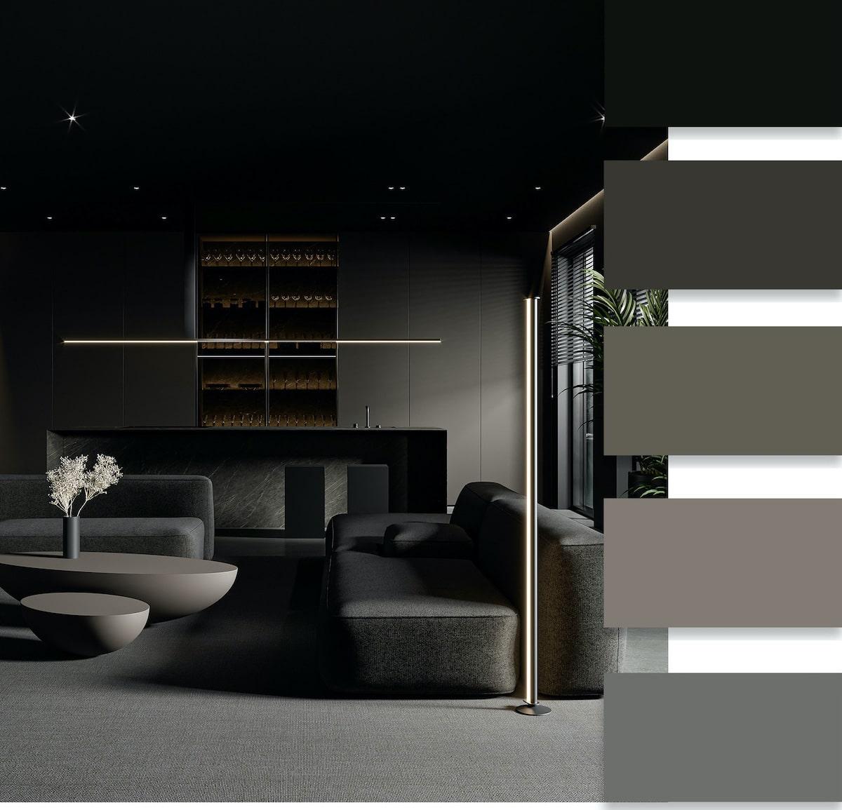Черный цвет в отделке, который используется в качестве основного, подходит только для больших помещений