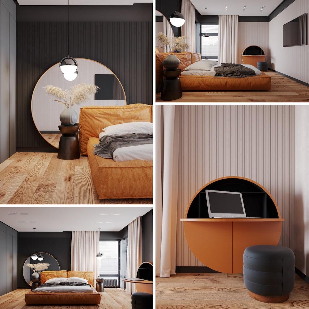 Интерьер оранжевой спальни, в которой присутствует правильное сочетание оттенков и цвета