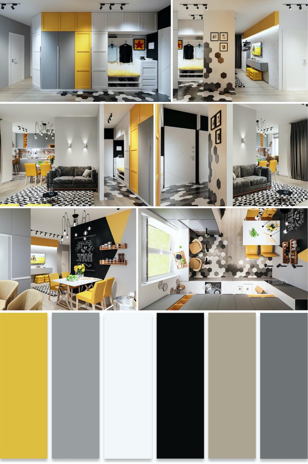 Интерьер квартиры студии с нескучным дизайном