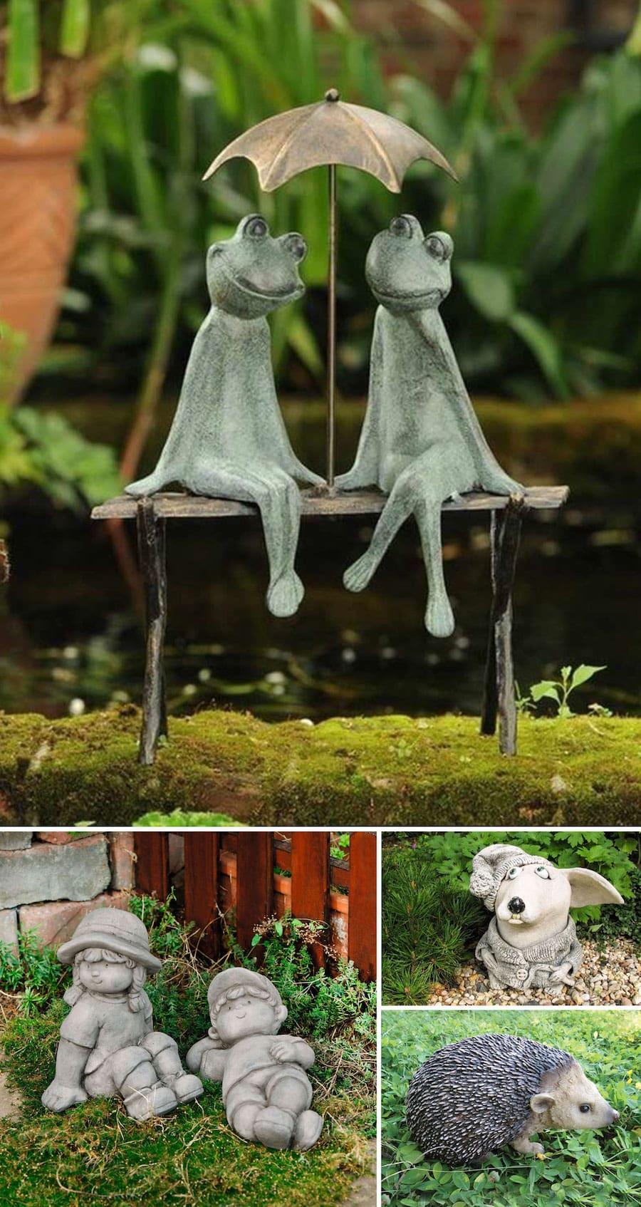 Забавные садовые фигурки из бетона