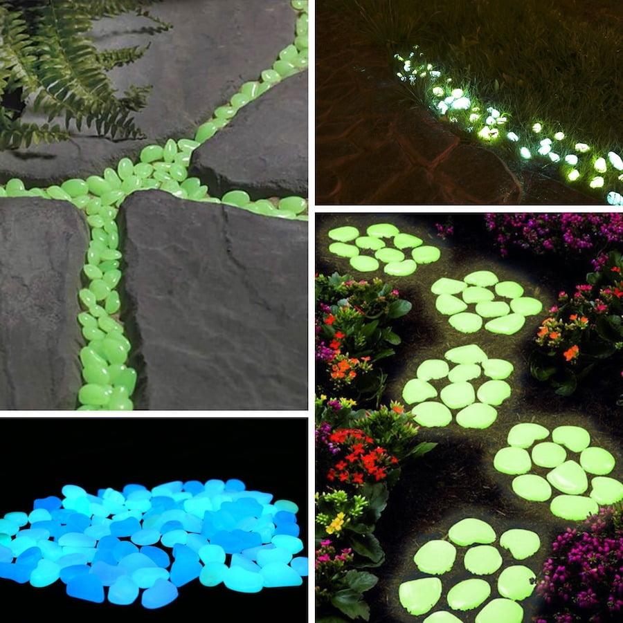 Варианты применения люминесцентных камней в украшении сада