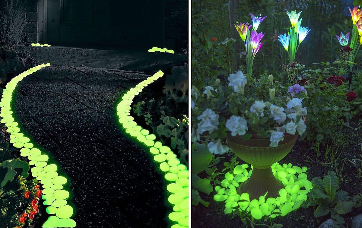 Изящная подсветка дорожки и клумбы светящимися камнями