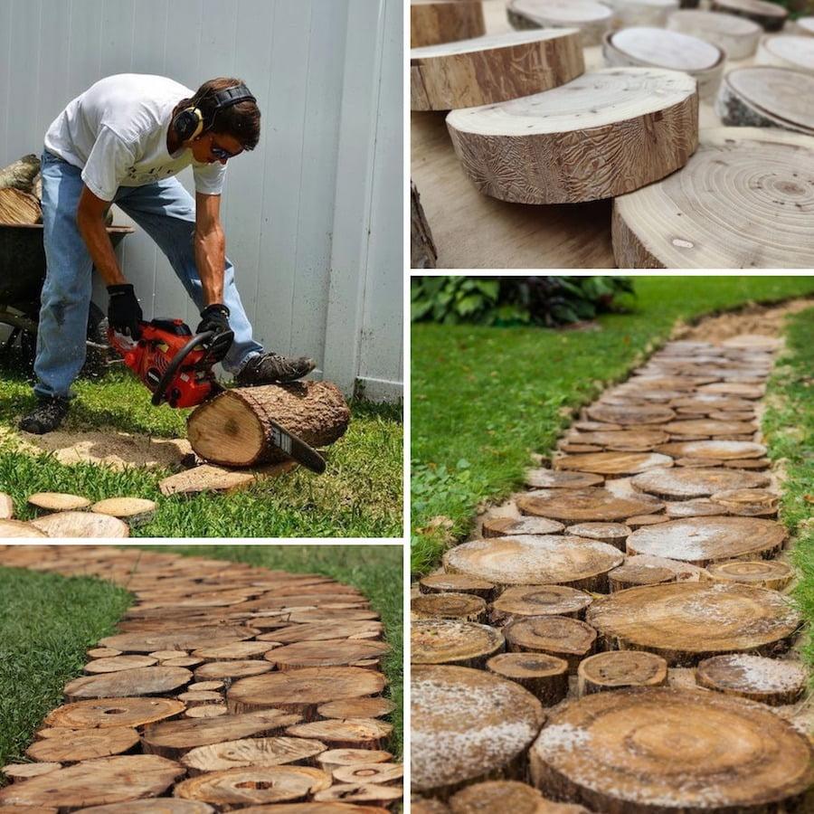 Дорожки из древесных спилов