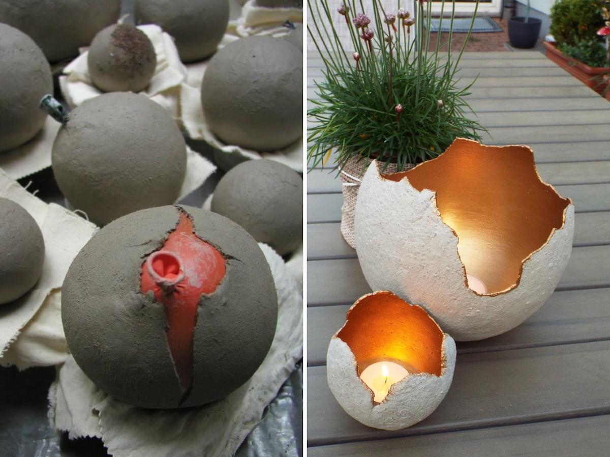 Разукрашенные сферы из цементного раствора – простое, но очень красивое украшение для сада