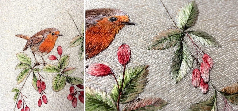 Вышивка на полотне – отличная идея для декорирования стен