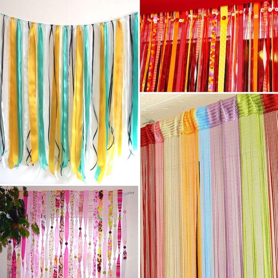 Шторы из разноцветных полос ткани задают настроение всему интерьеру