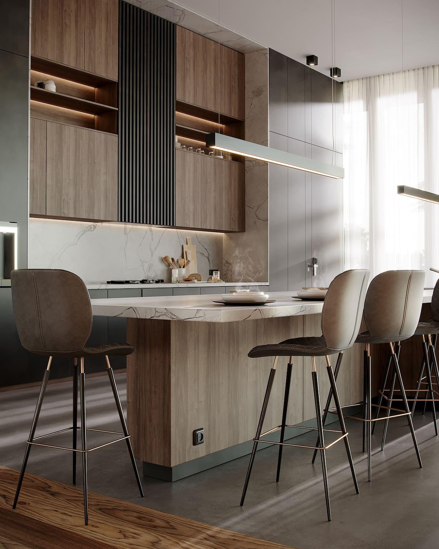 модный интерьер кухни фото 53