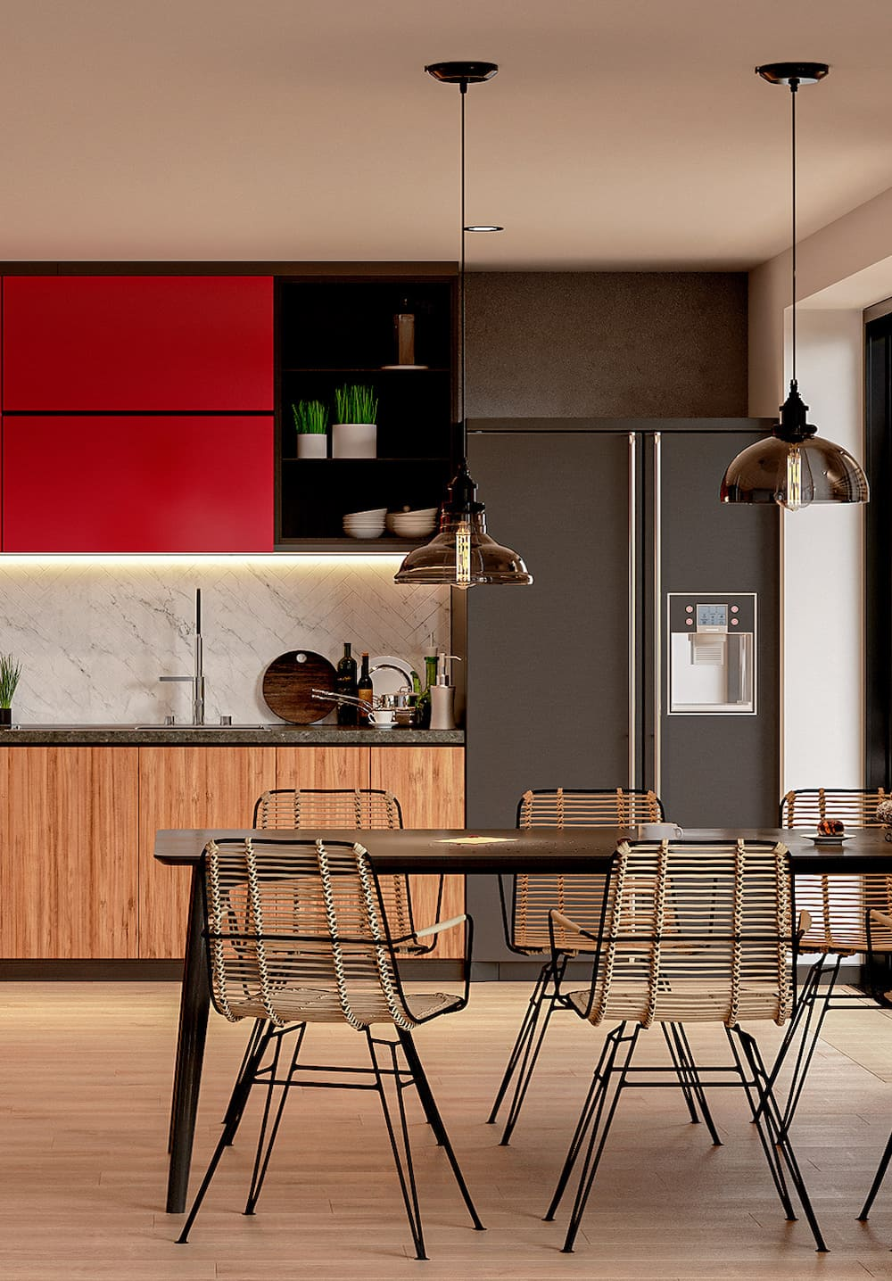 черно-белая кухня фото 19