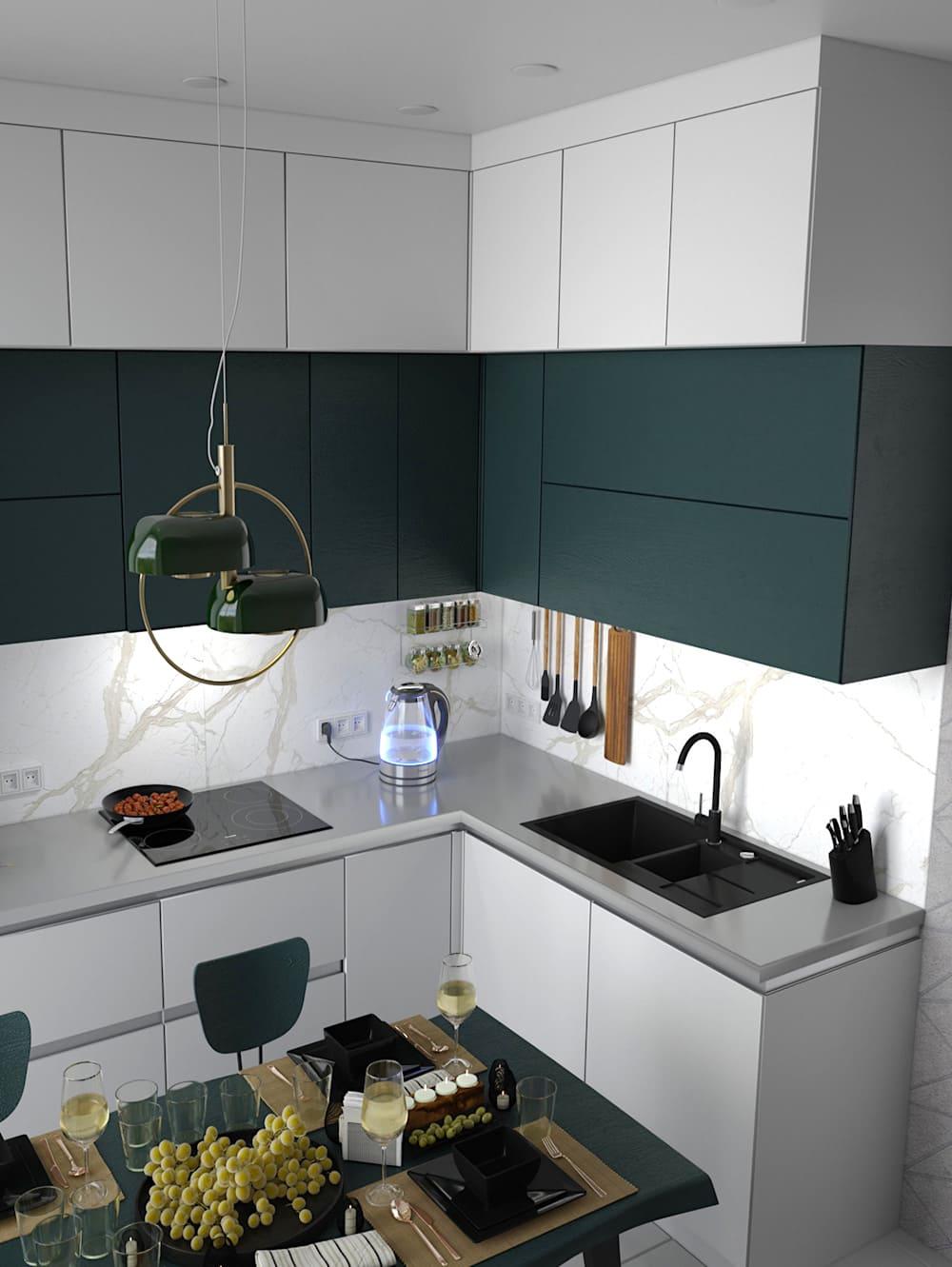 черно-белая кухня фото 21