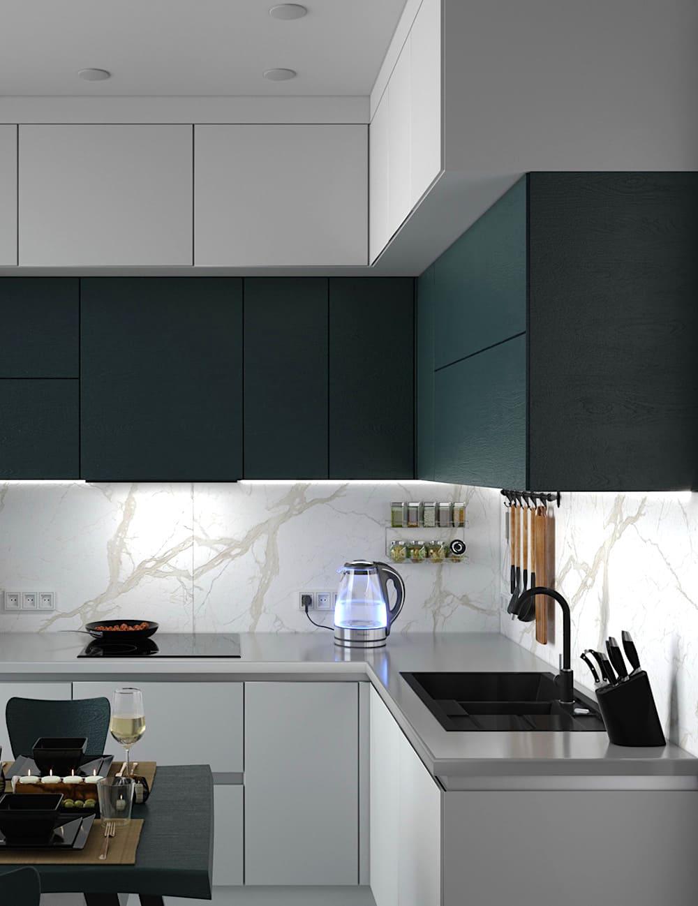 черно-белая кухня фото 22